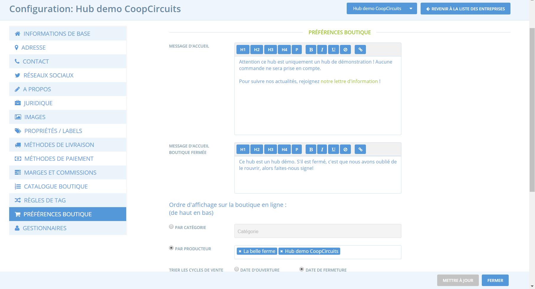 Changer l'ordre d'affichage des produits dans une boutique CoopCircuits